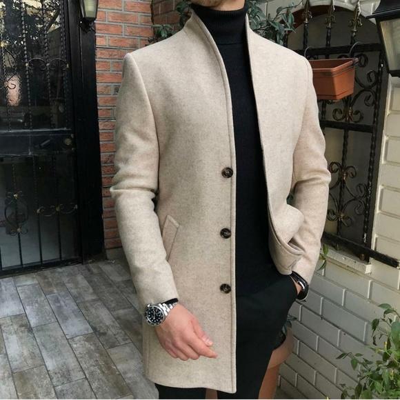Jackets & Blazers - Men' s Casual Thicken Warm Slim Wool Blends Coat
